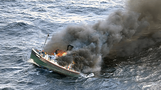 Hercules Shipping and Marine supply boat fire, DSPA5 Fire prevention. New Bedford, Ma.